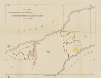 Peta Timor sebelum Pertukaran Maukatar (sekarang di Timor Leste) dengan Noemuti. Itulah sebabnya di dalam cerita ini disebutkan bahwa Bil Nope mencari dukungan pada enclave Protugis di Noemuti. (sumber: koleksi KITLV)