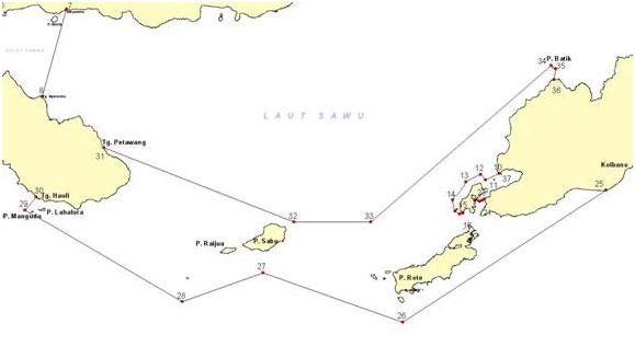 Titik-titik batas koordinat TNP Laut Sawu {sumber: Website TNP Laut Sawu}